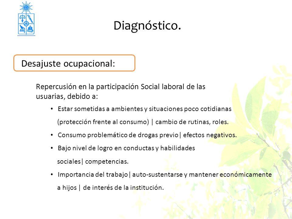 Diagnóstico. Desajuste ocupacional: Repercusión en la participación Social laboral de las usuarias, debido a: Estar sometidas a ambientes y situacione