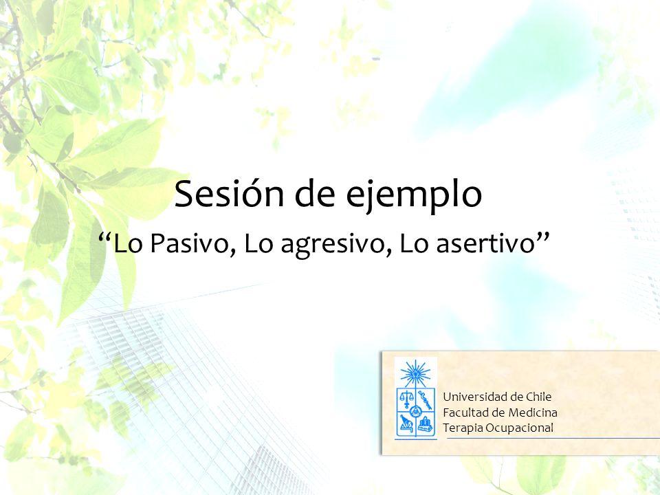 Sesión de ejemplo Lo Pasivo, Lo agresivo, Lo asertivo Universidad de Chile Facultad de Medicina Terapia Ocupacional