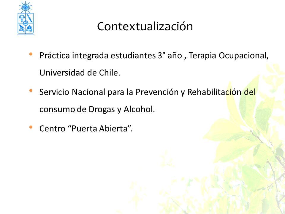 Contextualización Práctica integrada estudiantes 3° año, Terapia Ocupacional, Universidad de Chile. Servicio Nacional para la Prevención y Rehabilitac