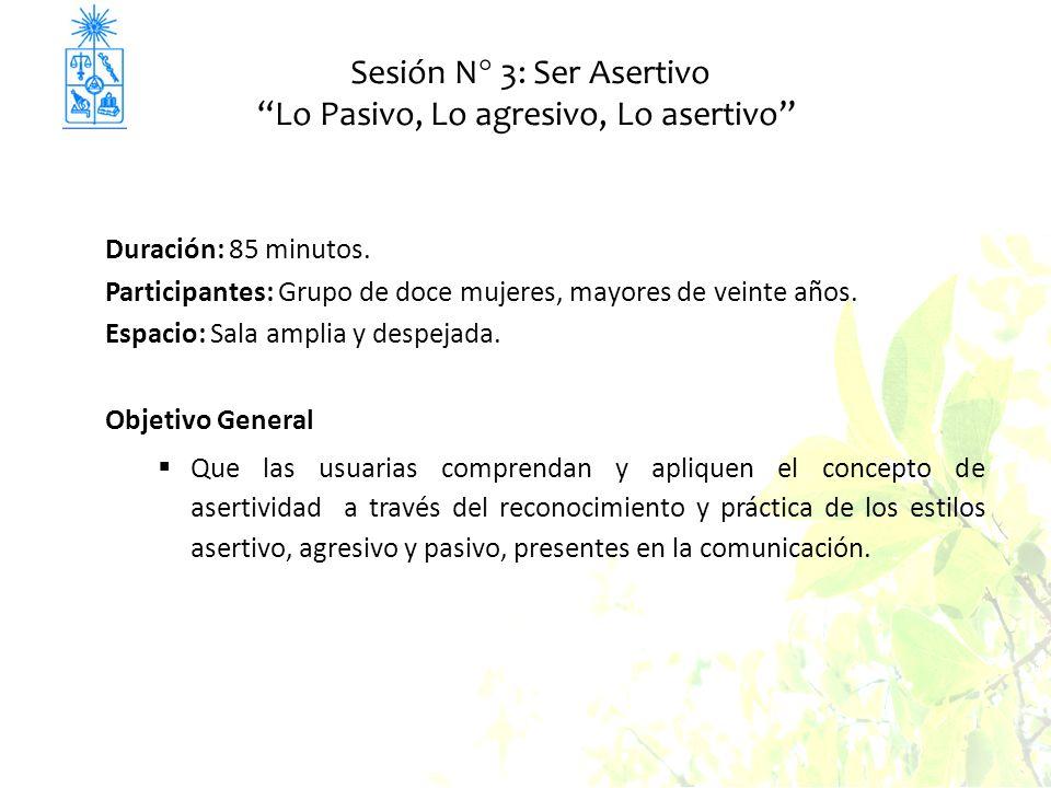 Sesión N° 3: Ser Asertivo Lo Pasivo, Lo agresivo, Lo asertivo Duración: 85 minutos. Participantes: Grupo de doce mujeres, mayores de veinte años. Espa