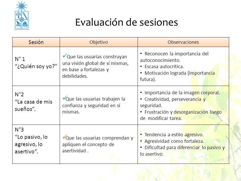 Evaluación de sesiones Sesión ObjetivoObservaciones N° 1 ¿Quién soy yo? Que las usuarias construyan una visión global de sí mismas, en base a fortalez