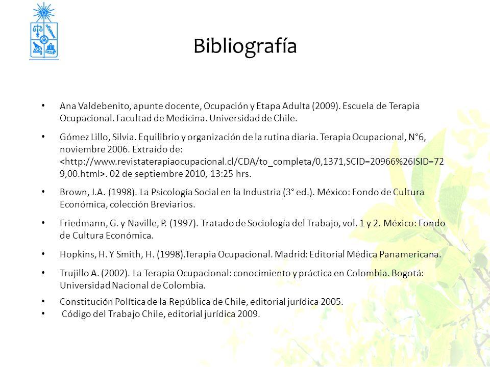 Bibliografía Ana Valdebenito, apunte docente, Ocupación y Etapa Adulta (2009). Escuela de Terapia Ocupacional. Facultad de Medicina. Universidad de Ch