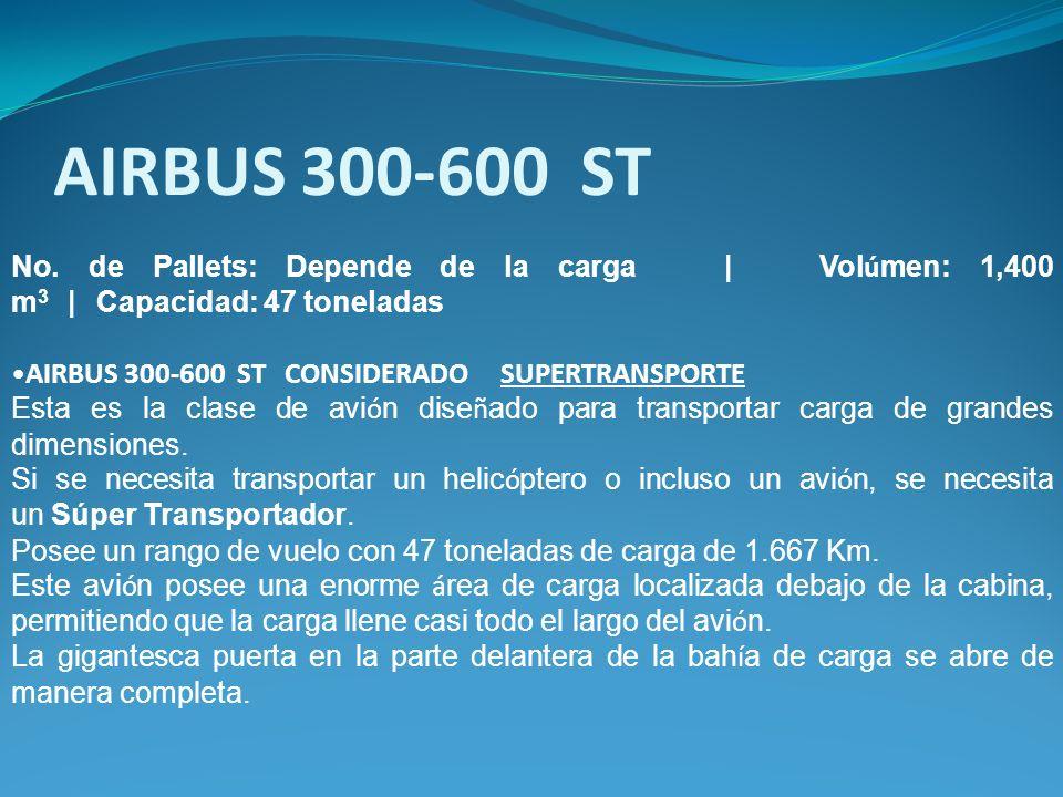No. de Pallets: Depende de la carga | Vol ú men: 1,400 m 3 | Capacidad: 47 toneladas AIRBUS 300-600 ST CONSIDERADO SUPERTRANSPORTE Esta es la clase de
