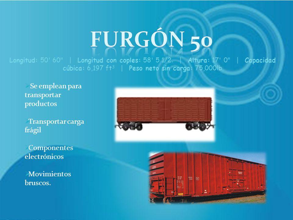 Se emplean para transportar productos Transportar carga frágil Componentes electrónicos Movimientos bruscos. Longitud: 50' 60