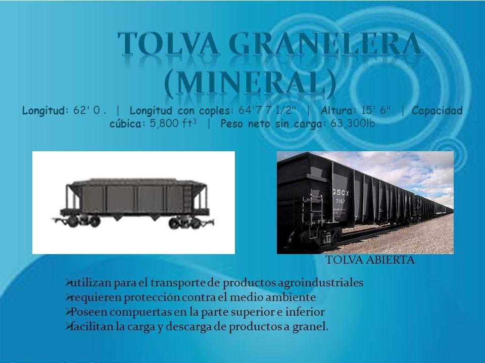 TOLVA ABIERTA utilizan para el transporte de productos agroindustriales requieren protección contra el medio ambiente Poseen compuertas en la parte su