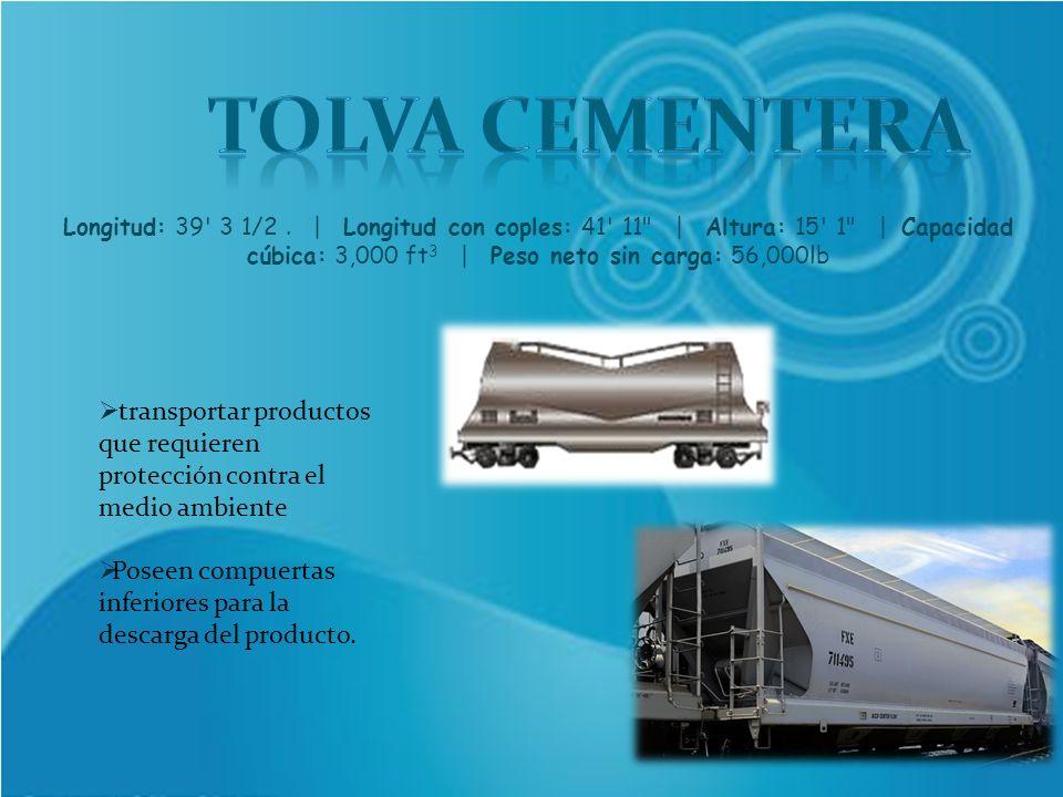 transportar productos que requieren protección contra el medio ambiente Poseen compuertas inferiores para la descarga del producto. Longitud: 39' 3 1/