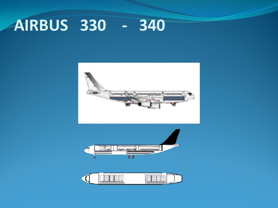 El Airbus 340 posee 4 turbinas y un rango de 12000 a 15000 Km.