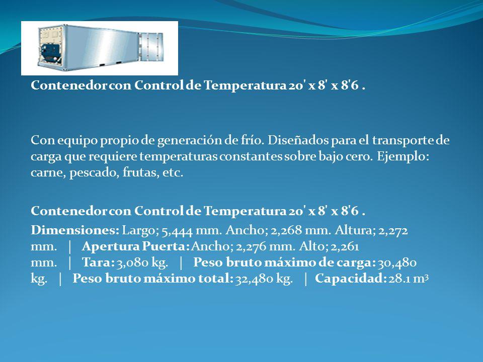 Contenedor con Control de Temperatura 20' x 8' x 8'6. Con equipo propio de generación de frío. Diseñados para el transporte de carga que requiere temp
