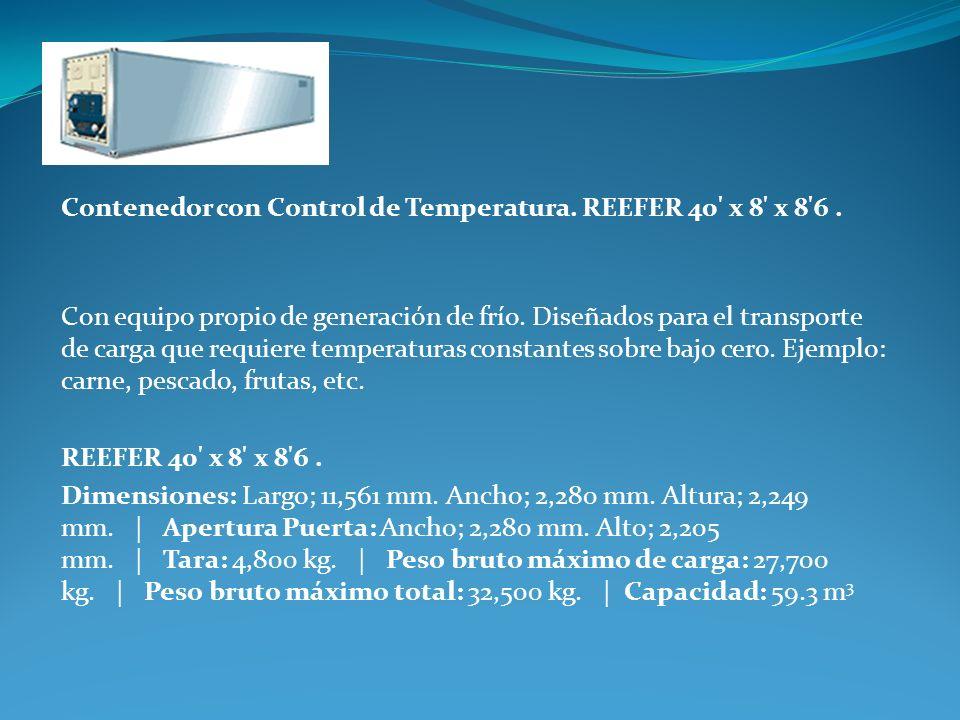 Contenedor con Control de Temperatura. REEFER 40' x 8' x 8'6. Con equipo propio de generación de frío. Diseñados para el transporte de carga que requi