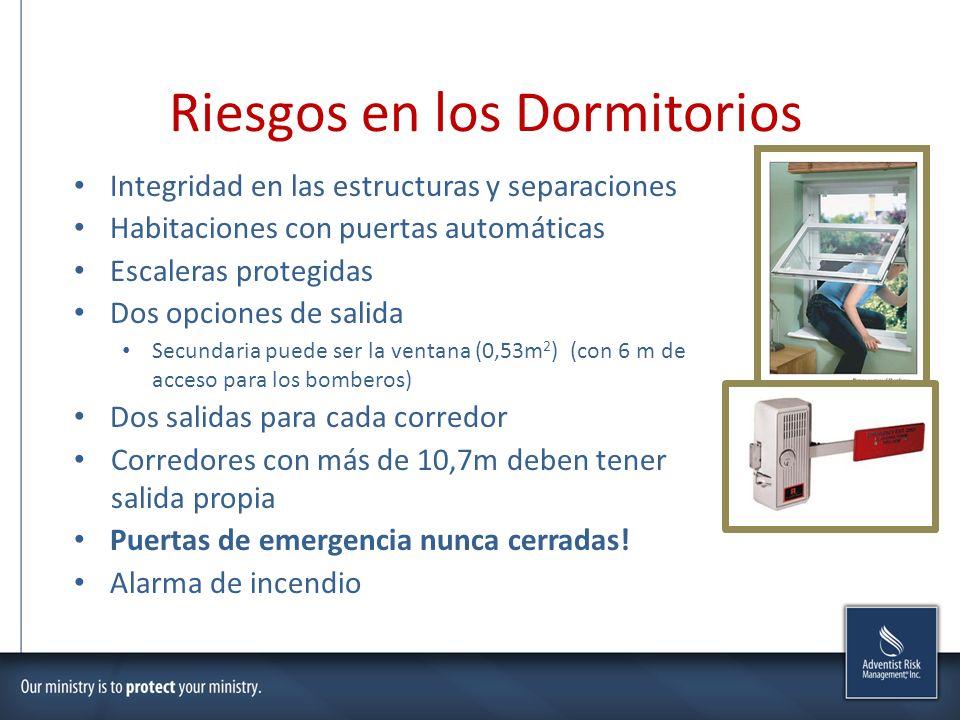 Riesgos en los Dormitorios Integridad en las estructuras y separaciones Habitaciones con puertas automáticas Escaleras protegidas Dos opciones de sali