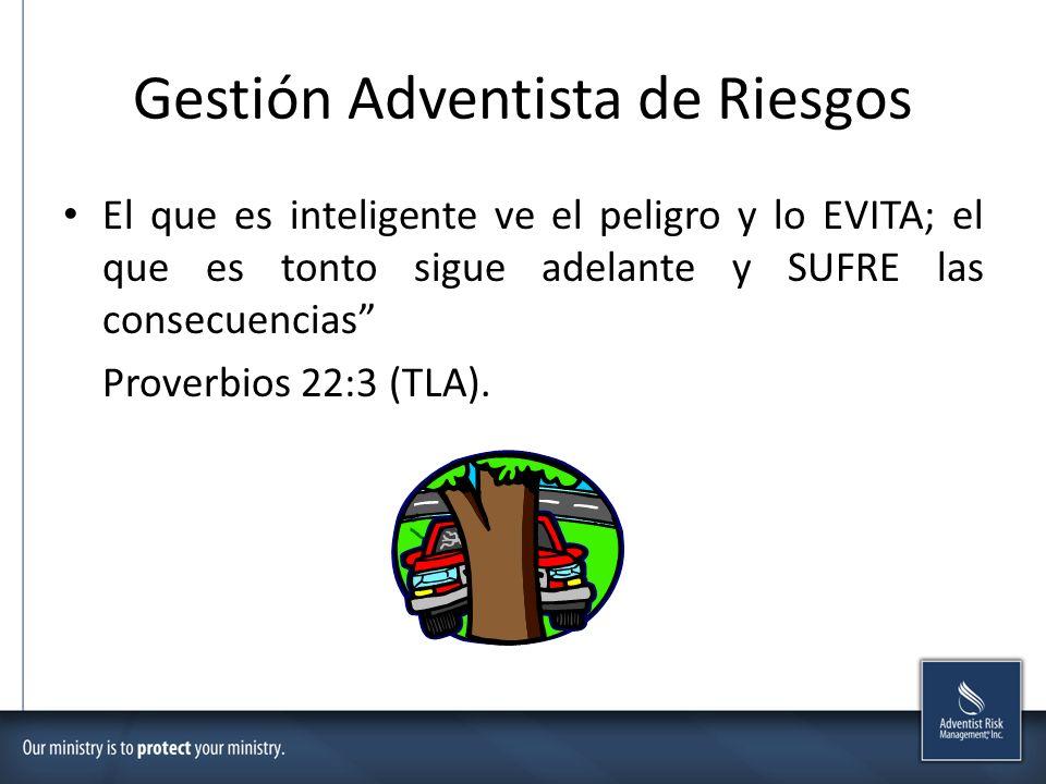 Gestión Adventista de Riesgos El que es inteligente ve el peligro y lo EVITA; el que es tonto sigue adelante y SUFRE las consecuencias Proverbios 22:3 (TLA).