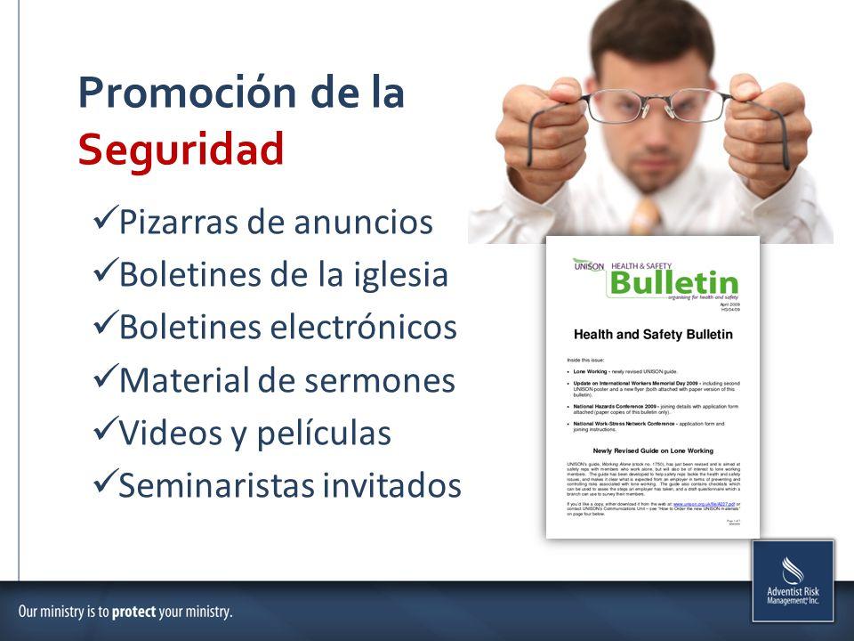 Promoción de la Seguridad Pizarras de anuncios Boletines de la iglesia Boletines electrónicos Material de sermones Videos y películas Seminaristas invitados