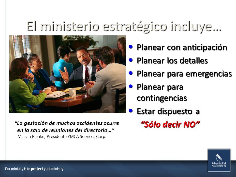 El ministerio estratégico incluye… Planear con anticipación Planear con anticipación Planear los detalles Planear los detalles Planear para emergencia