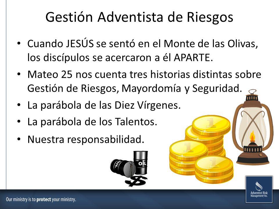 Gestión Adventista de Riesgos Cuando JESÚS se sentó en el Monte de las Olivas, los discípulos se acercaron a él APARTE. Mateo 25 nos cuenta tres histo