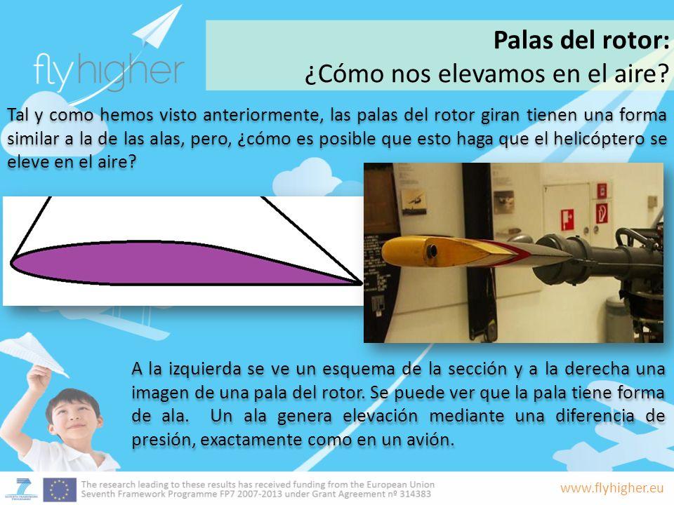 www.flyhigher.eu Tal y como hemos visto anteriormente, las palas del rotor giran tienen una forma similar a la de las alas, pero, ¿cómo es posible que