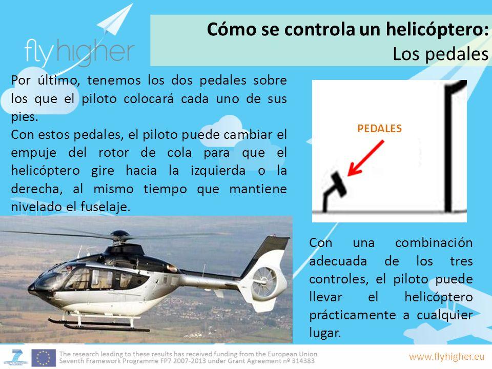 www.flyhigher.eu Por último, tenemos los dos pedales sobre los que el piloto colocará cada uno de sus pies. Con estos pedales, el piloto puede cambiar