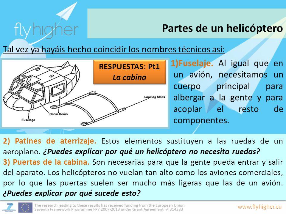 www.flyhigher.eu 2) Patines de aterrizaje. Estos elementos sustituyen a las ruedas de un aeroplano. ¿Puedes explicar por qué un helicóptero no necesit