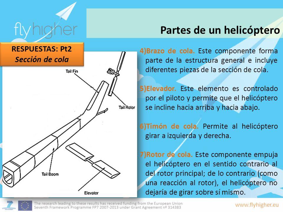 www.flyhigher.eu 4)Brazo de cola. Este componente forma parte de la estructura general e incluye diferentes piezas de la sección de cola. 5)Elevador.