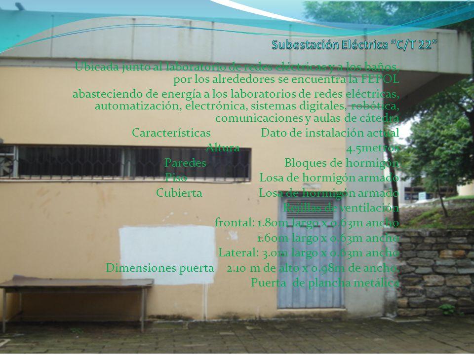 Ubicada junto al laboratorio de redes eléctricas y a los baños, por los alrededores se encuentra la FEPOL abasteciendo de energía a los laboratorios d