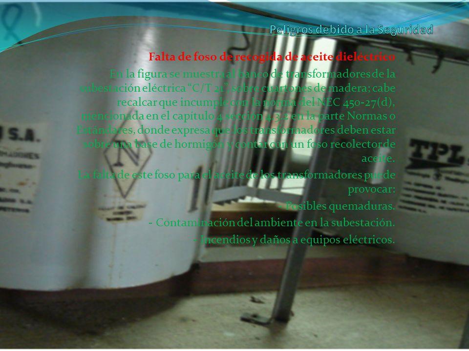 Falta de foso de recogida de aceite dieléctrico En la figura se muestra al banco de transformadores de la subestación eléctrica C/T 21, sobre cuartone