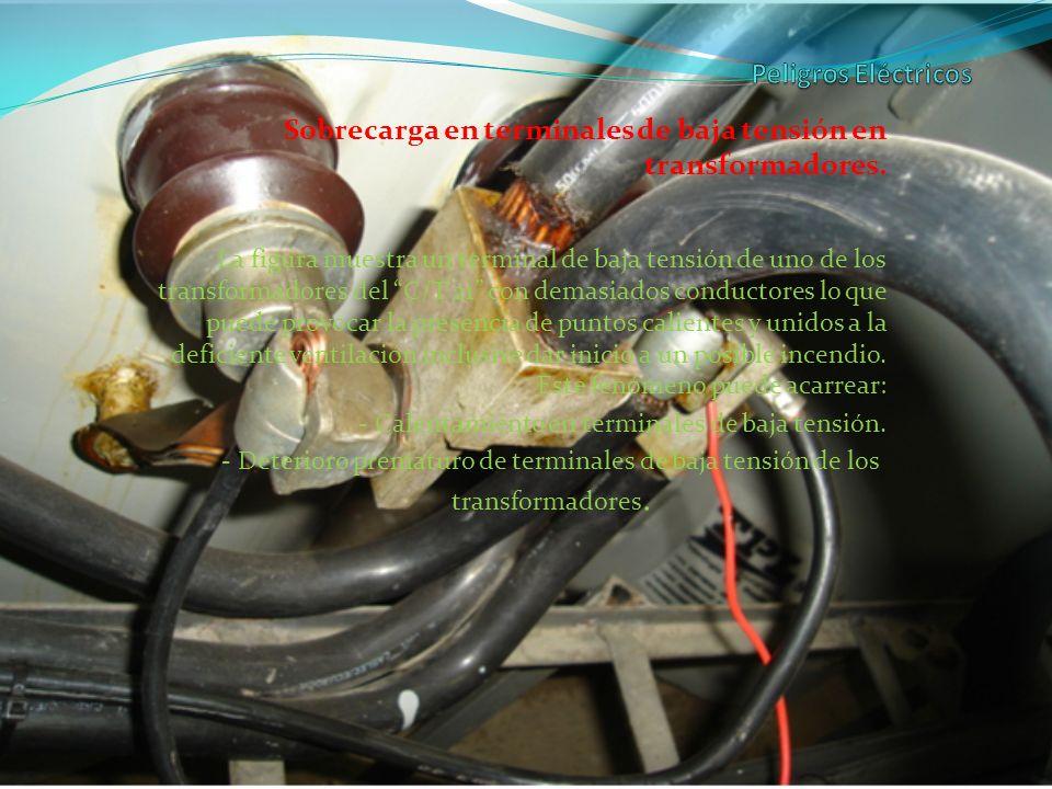 Sobrecarga en terminales de baja tensión en transformadores. La figura muestra un terminal de baja tensión de uno de los transformadores del C/T 21 co