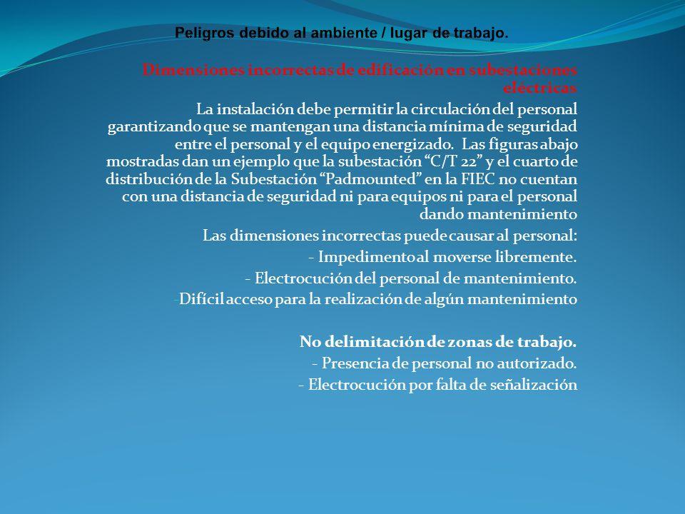 Dimensiones incorrectas de edificación en subestaciones eléctricas La instalación debe permitir la circulación del personal garantizando que se manten