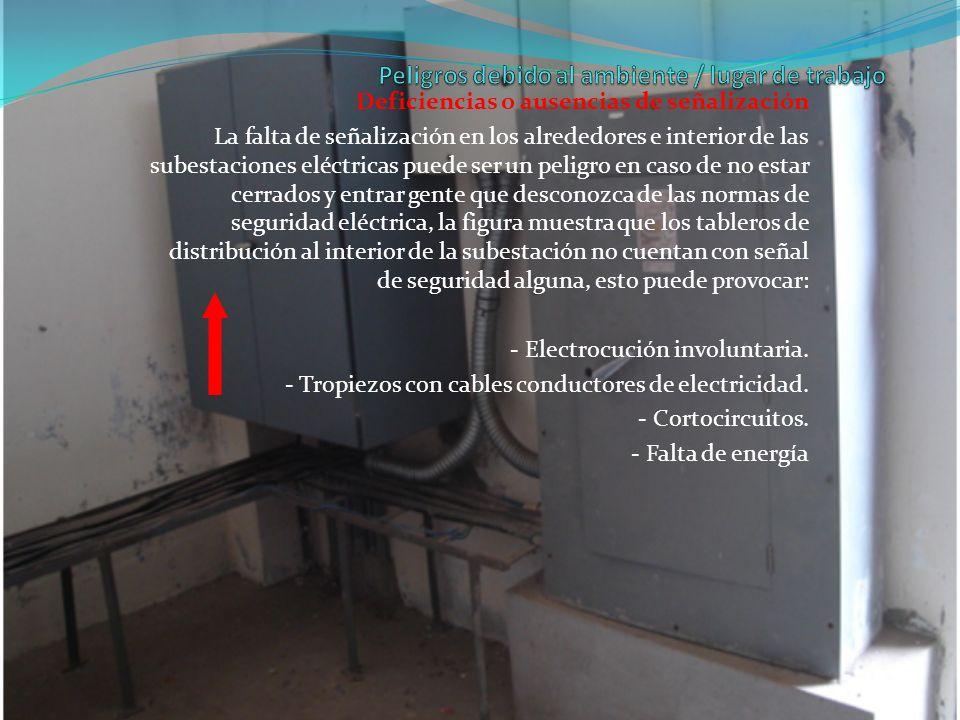 Deficiencias o ausencias de señalización La falta de señalización en los alrededores e interior de las subestaciones eléctricas puede ser un peligro e