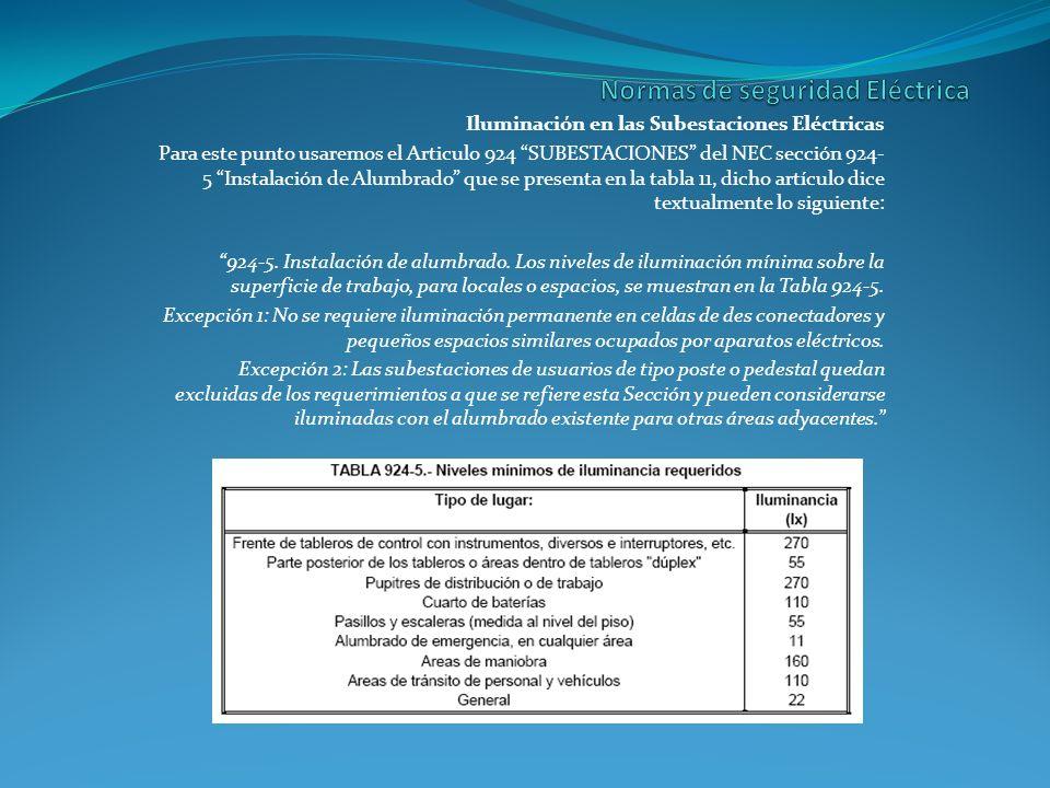 Iluminación en las Subestaciones Eléctricas Para este punto usaremos el Articulo 924 SUBESTACIONES del NEC sección 924- 5 Instalación de Alumbrado que