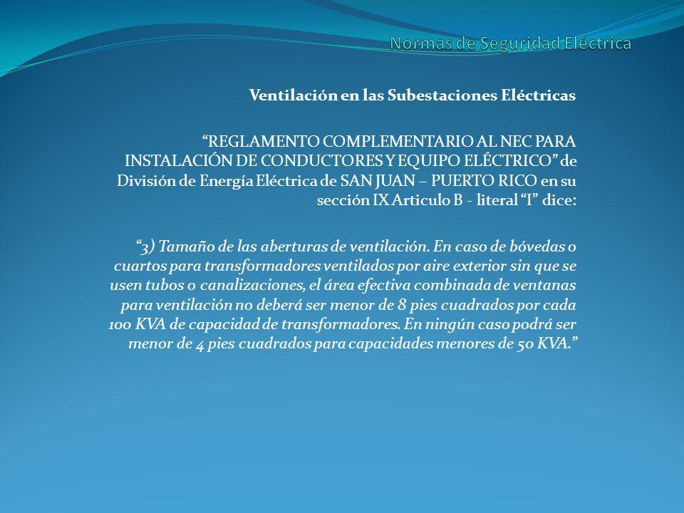 Ventilación en las Subestaciones Eléctricas REGLAMENTO COMPLEMENTARIO AL NEC PARA INSTALACIÓN DE CONDUCTORES Y EQUIPO ELÉCTRICO de División de Energía