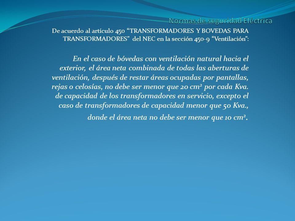 De acuerdo al artículo 450 TRANSFORMADORES Y BOVEDAS PARA TRANSFORMADORES del NEC en la sección 450-9 Ventilación: En el caso de bóvedas con ventilaci