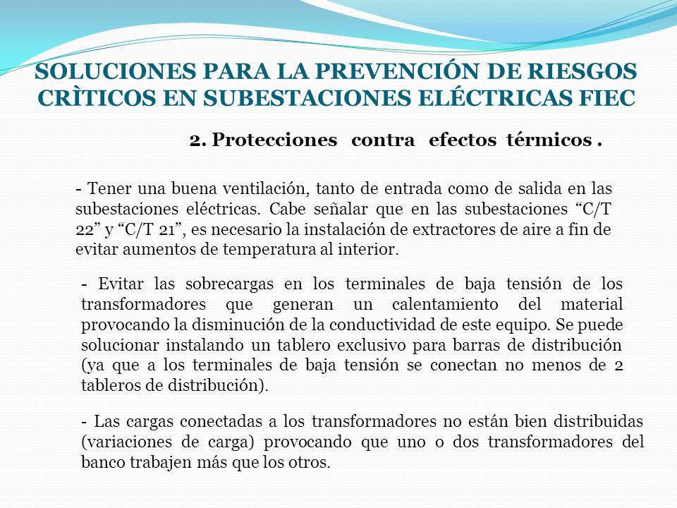 2. Protecciones contra efectos térmicos. SOLUCIONES PARA LA PREVENCIÓN DE RIESGOS CRÌTICOS EN SUBESTACIONES ELÉCTRICAS FIEC - Tener una buena ventilac