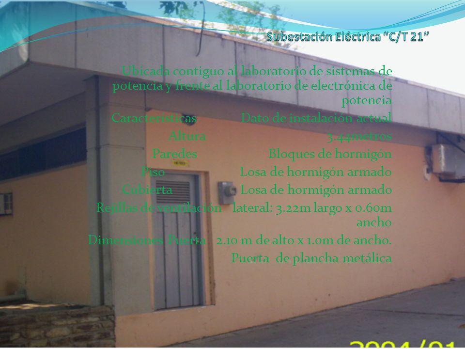 Ubicada contiguo al laboratorio de sistemas de potencia y frente al laboratorio de electrónica de potencia Características Dato de instalación actual