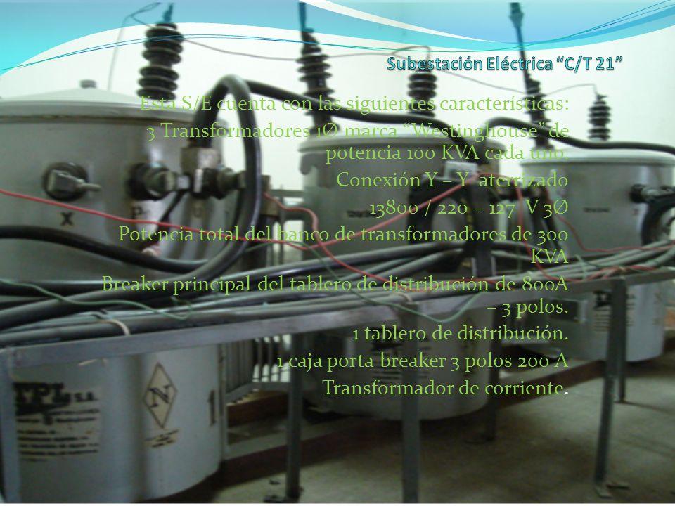 Esta S/E cuenta con las siguientes características: 3 Transformadores 1Ø marca Westinghouse de potencia 100 KVA cada uno. Conexión Y – Y aterrizado 13