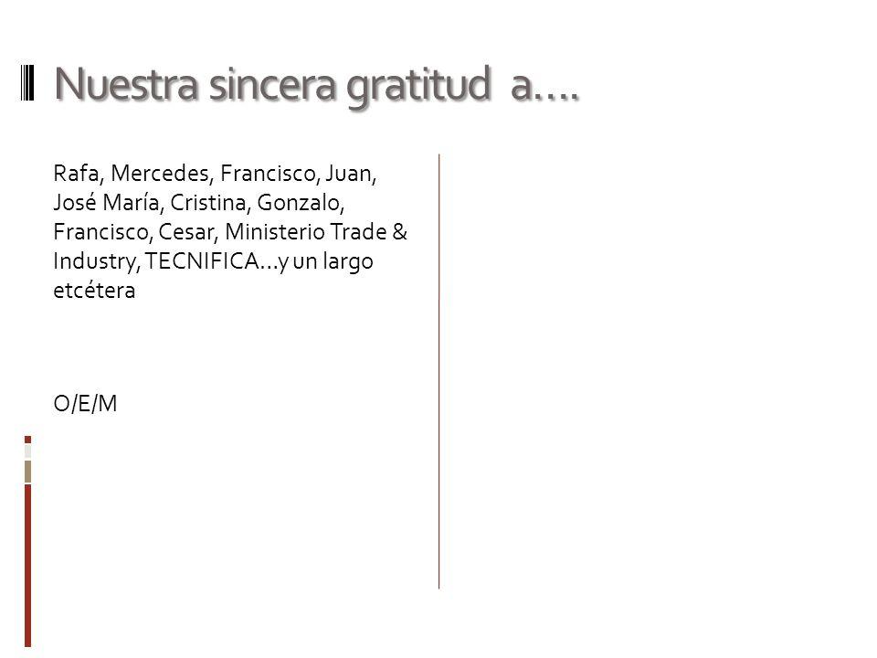Nuestra sincera gratitud a…. Rafa, Mercedes, Francisco, Juan, José María, Cristina, Gonzalo, Francisco, Cesar, Ministerio Trade & Industry, TECNIFICA…