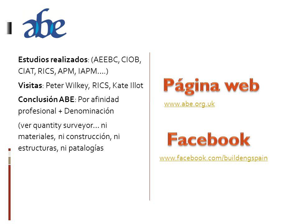 Estudios realizados: (AEEBC, CIOB, CIAT, RICS, APM, IAPM….) Visitas: Peter Wilkey, RICS, Kate Illot Conclusión ABE: Por afinidad profesional + Denomin