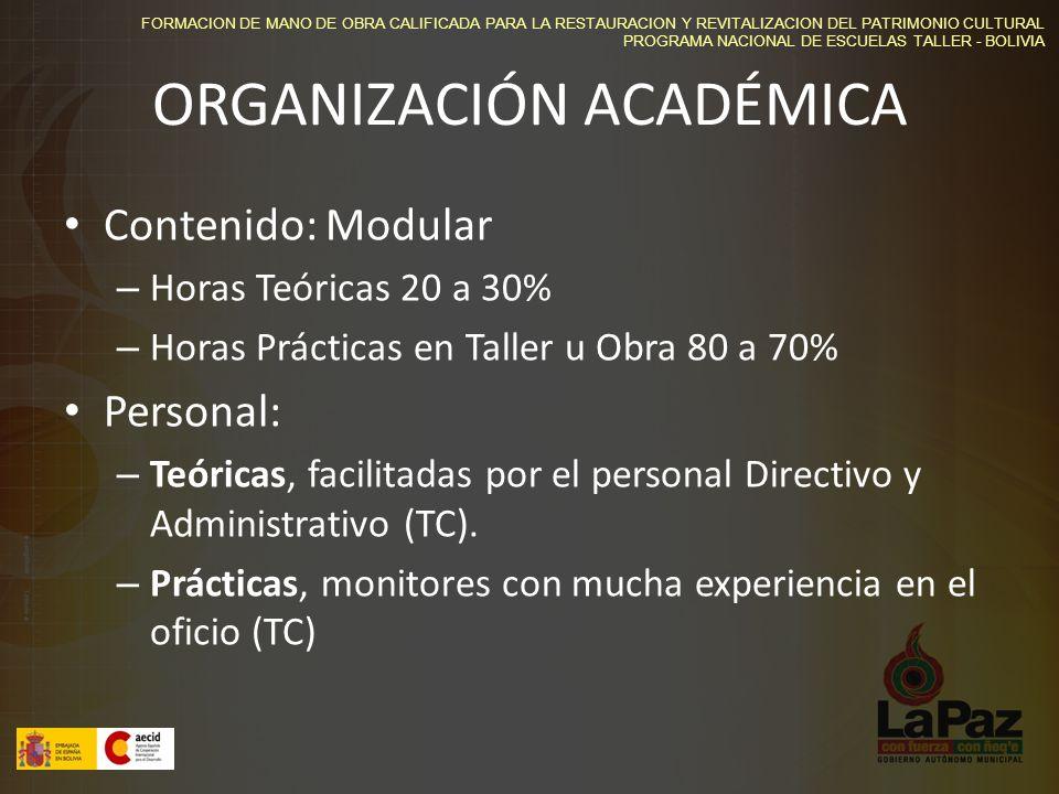 FORMACION DE MANO DE OBRA CALIFICADA PARA LA RESTAURACION Y REVITALIZACION DEL PATRIMONIO CULTURAL PROGRAMA NACIONAL DE ESCUELAS TALLER - BOLIVIA ORGANIZACIÓN ACADÉMICA Contenido: Modular – Horas Teóricas 20 a 30% – Horas Prácticas en Taller u Obra 80 a 70% Personal: – Teóricas, facilitadas por el personal Directivo y Administrativo (TC).