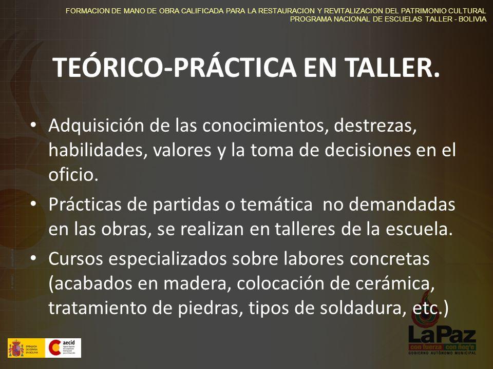 FORMACION DE MANO DE OBRA CALIFICADA PARA LA RESTAURACION Y REVITALIZACION DEL PATRIMONIO CULTURAL PROGRAMA NACIONAL DE ESCUELAS TALLER - BOLIVIA TEÓRICO-PRÁCTICA EN TALLER.