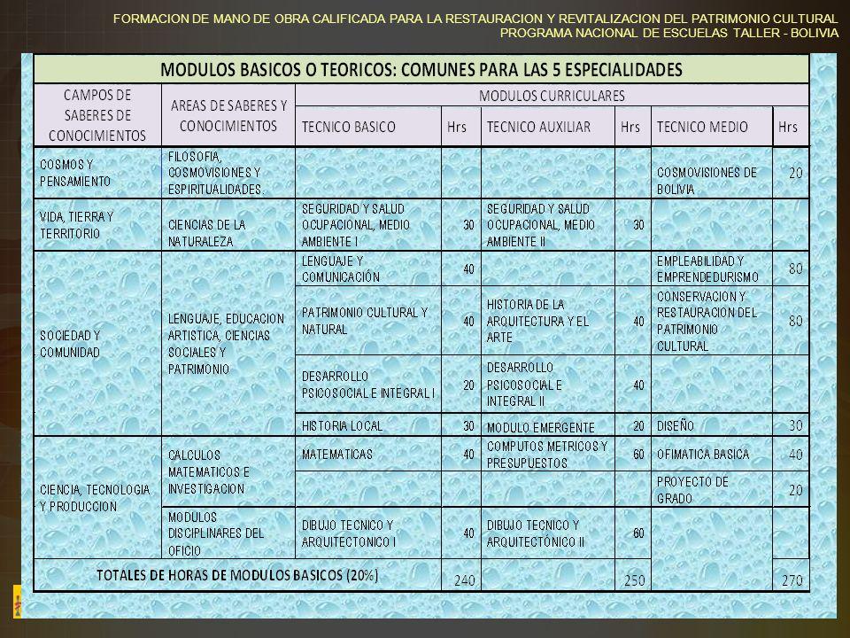 FORMACION DE MANO DE OBRA CALIFICADA PARA LA RESTAURACION Y REVITALIZACION DEL PATRIMONIO CULTURAL PROGRAMA NACIONAL DE ESCUELAS TALLER - BOLIVIA