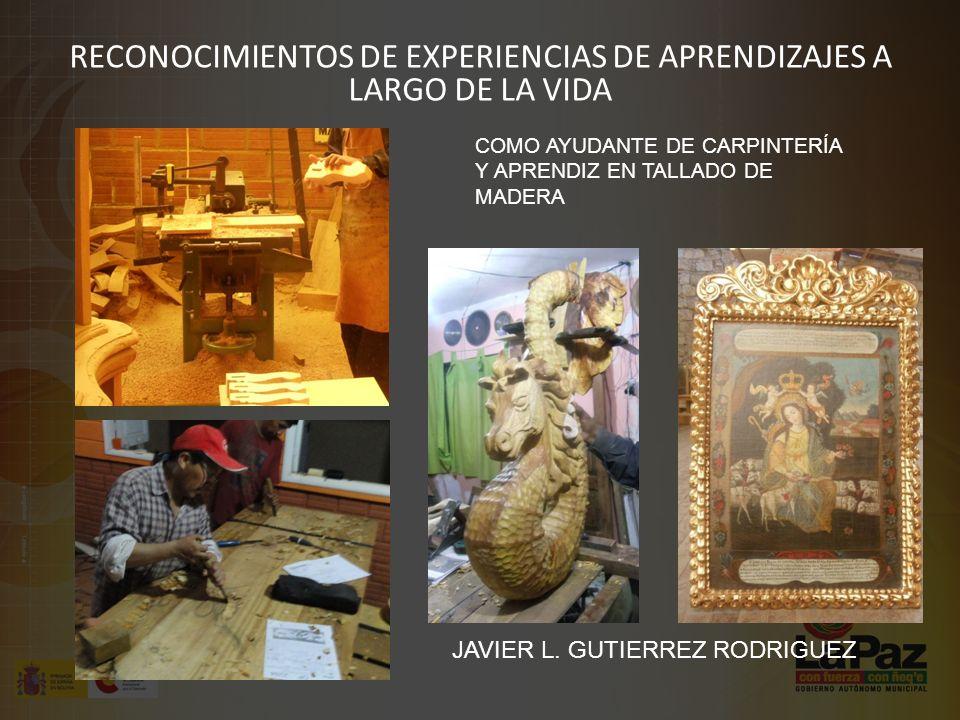 RECONOCIMIENTOS DE EXPERIENCIAS DE APRENDIZAJES A LARGO DE LA VIDA JAVIER L.