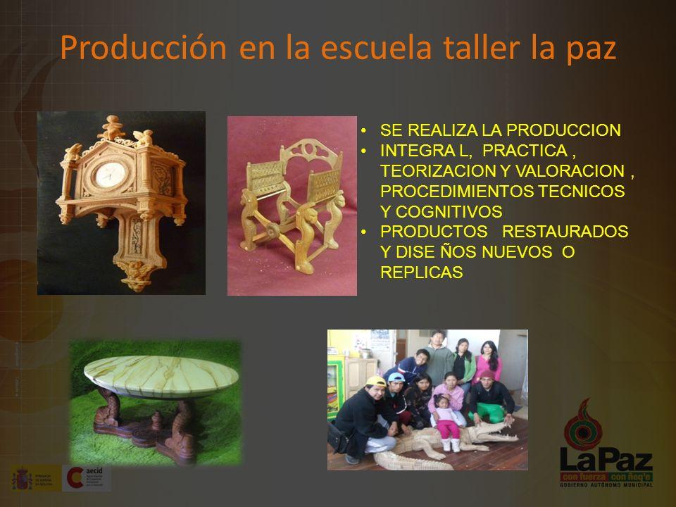 Producción en la escuela taller la paz SE REALIZA LA PRODUCCION INTEGRA L, PRACTICA, TEORIZACION Y VALORACION, PROCEDIMIENTOS TECNICOS Y COGNITIVOS PRODUCTOS RESTAURADOS Y DISE ÑOS NUEVOS O REPLICAS