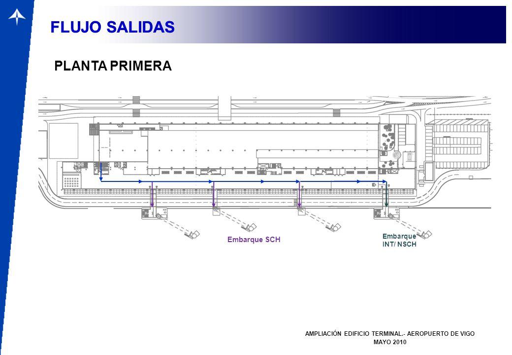 FLUJOS SALIDAS AMPLIACIÓN EDIFICIO TERMINAL.- AEROPUERTO DE VIGO MAYO 2010 FLUJO SALIDAS FLUJOS SALIDAS FLUJO SALIDAS PLANTA PRIMERA Embarque SCH Emba