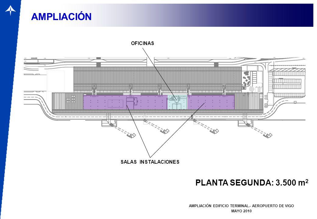 PUENTE DE SALIDAS AMPLIACIÓN EDIFICIO TERMINAL.- AEROPUERTO DE VIGO MAYO 2010 VISTA LADO AIRE