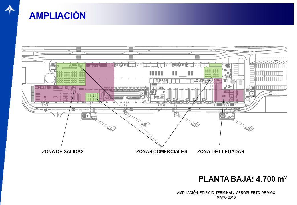 PLANTA BAJA: 4.700 m 2 AMPLIACIÓN EDIFICIO TERMINAL.- AEROPUERTO DE VIGO MAYO 2010 AMPLIACIÓN ZONA DE SALIDAS ZONA DE LLEGADAS ZONAS COMERCIALES