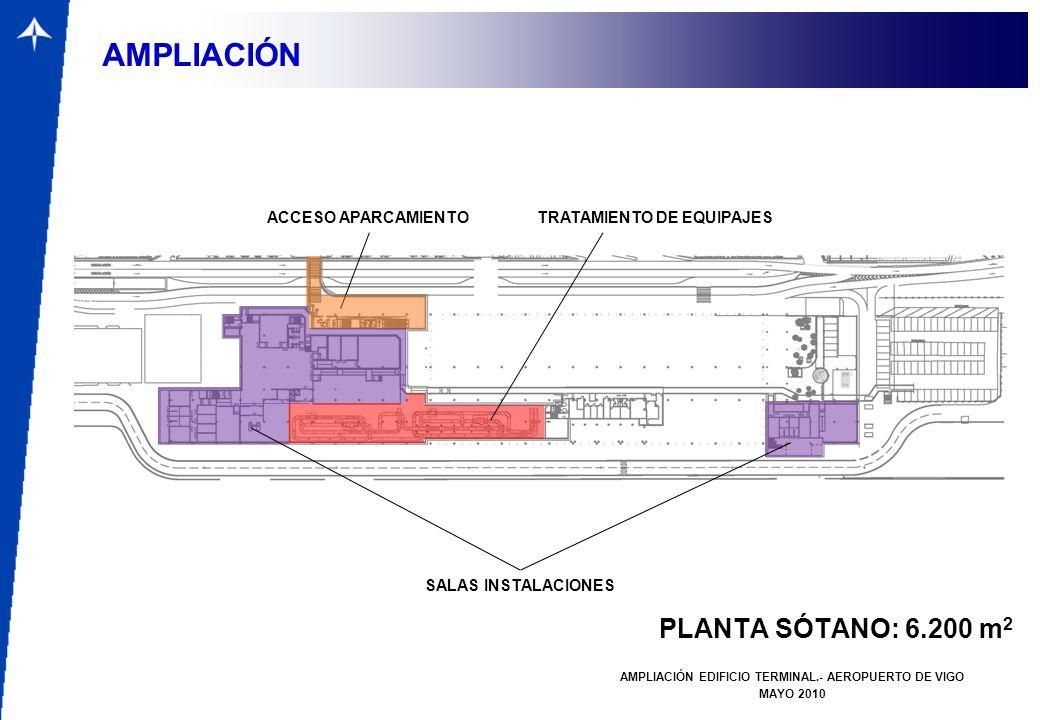 PLANTA SÓTANO: 6.200 m 2 AMPLIACIÓN EDIFICIO TERMINAL.- AEROPUERTO DE VIGO MAYO 2010 AMPLIACIÓN ACCESO APARCAMIENTOTRATAMIENTO DE EQUIPAJES SALAS INST