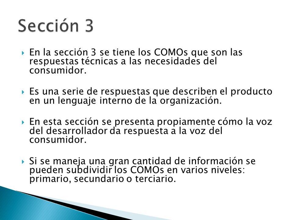 En la sección 3 se tiene los COMOs que son las respuestas técnicas a las necesidades del consumidor. Es una serie de respuestas que describen el produ