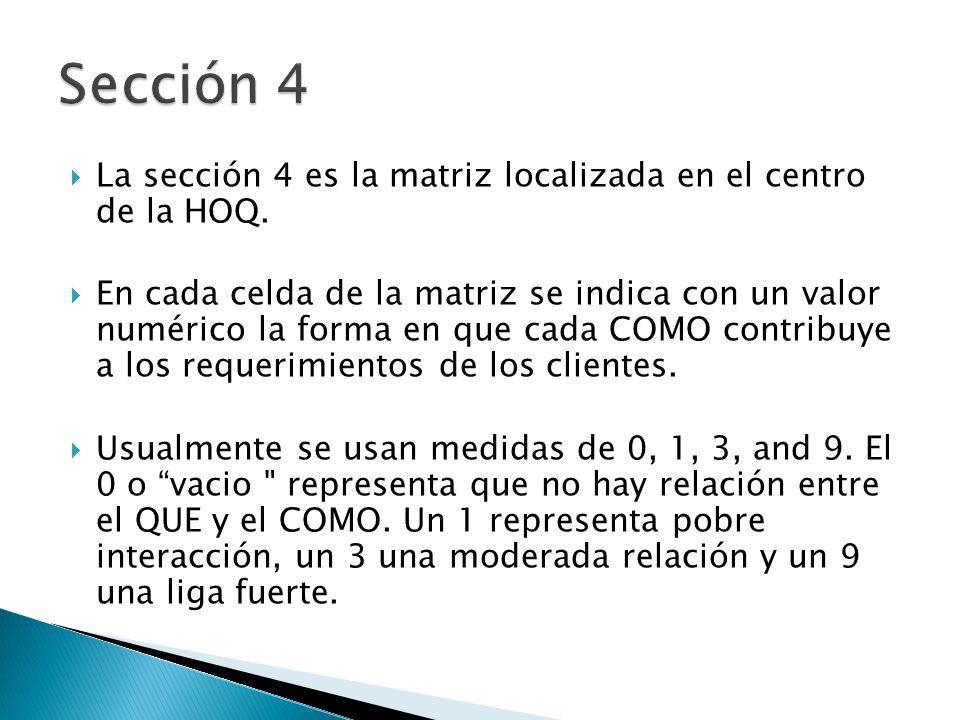 La sección 4 es la matriz localizada en el centro de la HOQ. En cada celda de la matriz se indica con un valor numérico la forma en que cada COMO cont
