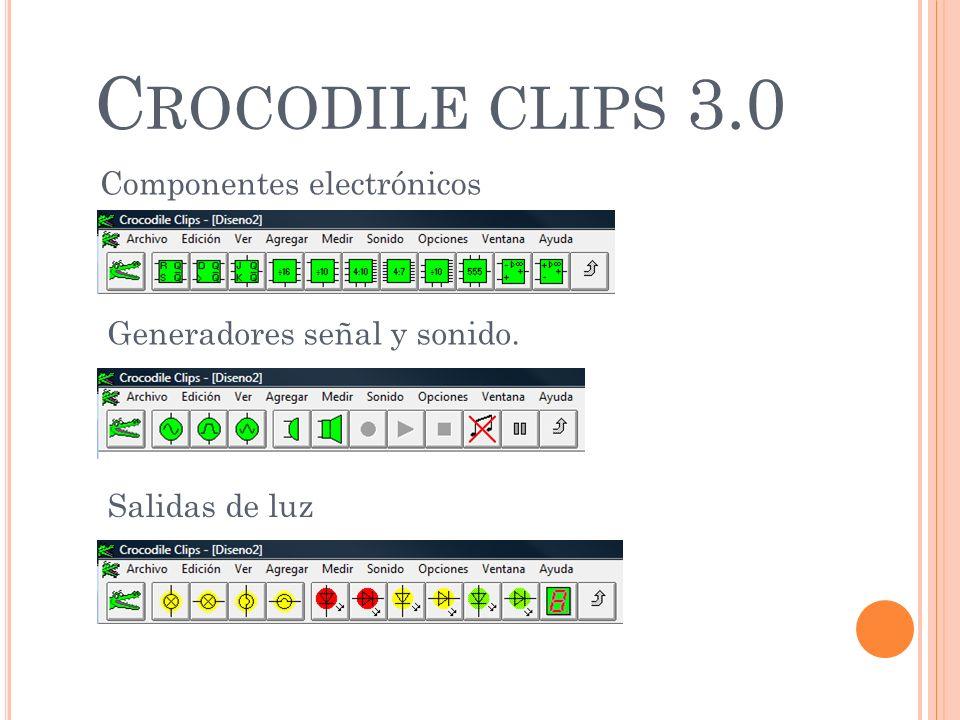 C ROCODILE CLIPS 3.0 Componentes electrónicos Generadores señal y sonido. Salidas de luz