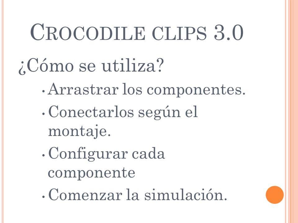 C ROCODILE CLIPS 3.0 ¿Cómo se utiliza? Arrastrar los componentes. Conectarlos según el montaje. Configurar cada componente Comenzar la simulación.