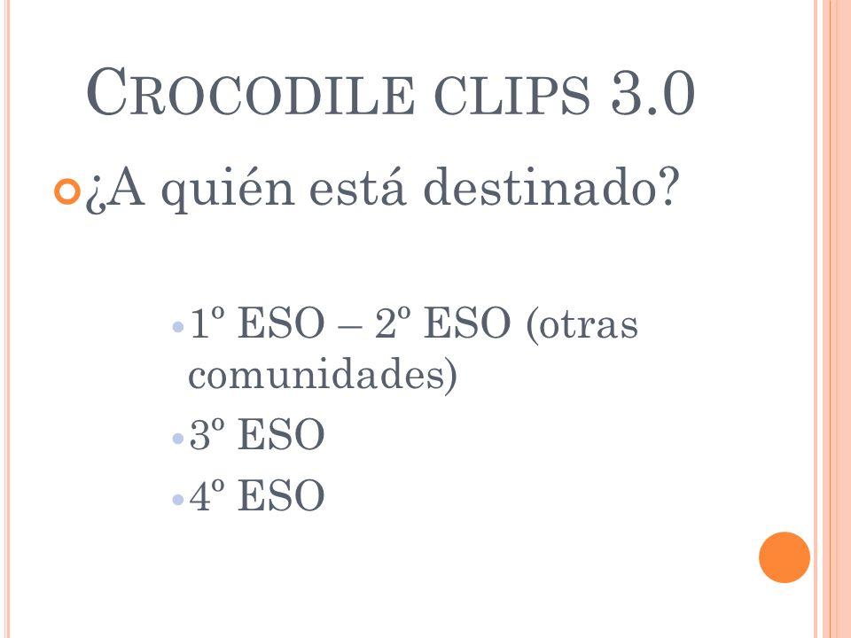 C ROCODILE CLIPS 3.0 ¿A quién está destinado? 1º ESO – 2º ESO (otras comunidades) 3º ESO 4º ESO