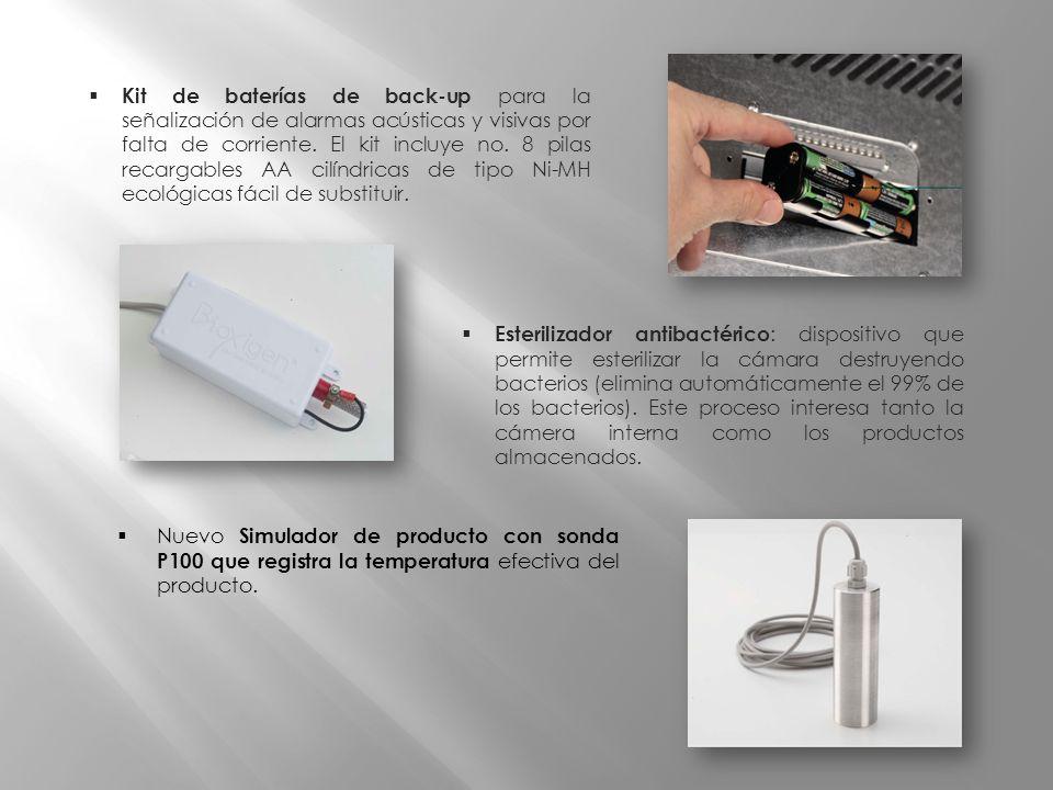 Esterilizador antibactérico : dispositivo que permite esterilizar la cámara destruyendo bacterios (elimina automáticamente el 99% de los bacterios). E